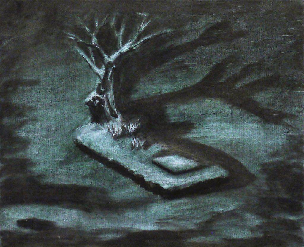 Ölgemälde mit Baum und Grab