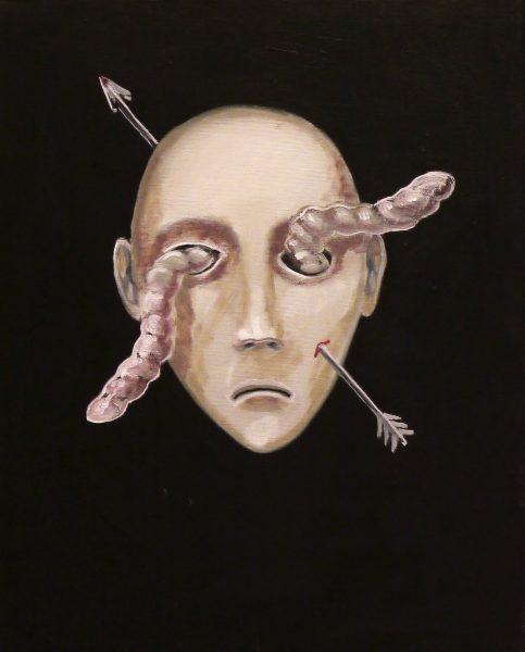 Ölgemälde mit Kopf, Pfeil und Wurm
